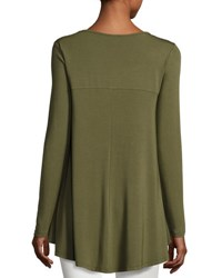 Neiman Marcus Long Sleeve Crewneck High Low Tee Olivette
