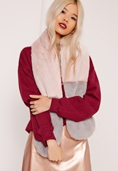 Missguided Two Colour Faux Fur Scarf Pink