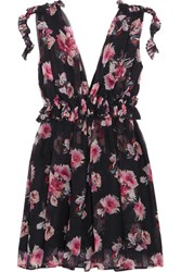 Msgm Ruffled Floral Print Silk Chiffon Mini Dress Black