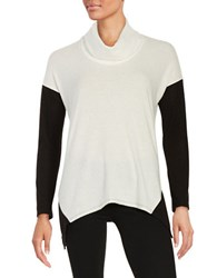 Design Lab Lord And Taylor Asymmetrical Colorblocked Fleece Sweater Black White