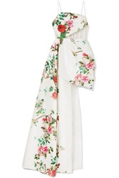 Alex Perry Reid Draped Tulle Trimmed Floral Print Satin Crepe Gown White