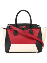 Bally Contrast Panel Tote Bag Red