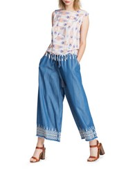 Plenty By Tracy Reese Embroidered Culottes Blue