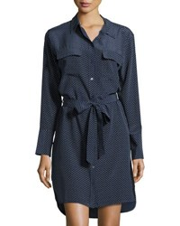 Equipment Delany Silk Polka Dot Shirtdress Dark Blue