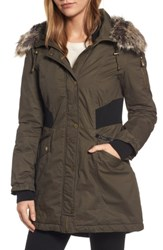 French Connection Women's Mixed Media Parka With Faux Fur Trim Hood Turtle
