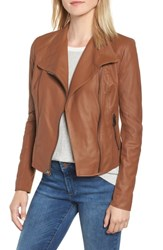 Andrew Marc New York By Felix Stand Collar Leather Jacket Whiskey