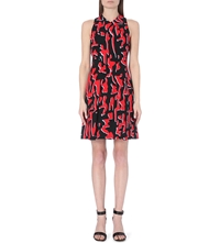 Proenza Schouler Sleeveless V Neck Abstract Print Crepe Dress Red Grey