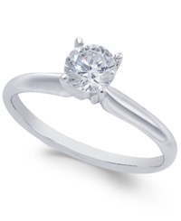 Macy's Diamond Solitaire Engagement Ring 1 Ct. T.W. In 18K White Gold