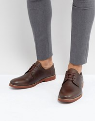 Red Tape Derby Shoes In Milled Brown Leather Brown