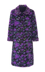 Anna Sui Abstract Watercolor Jacquard Coat Floral