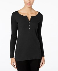 G.H. Bass And Co. Ribbed Henley Top Black