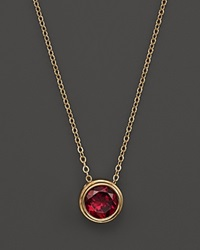 Bloomingdale's Rhodolite Garnet Bezel Set Pendant Necklace In 14K Yellow Gold 17 Red Gold