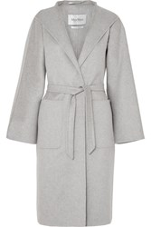 Max Mara Belted Brushed Cashmere Coat Gray