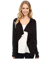 Mod O Doc Drape Front Cardigan With Sweater Knit Black Women's Sweater