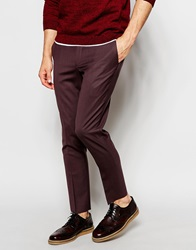 Noose And Monkey Cropped Trousers In Skinny Fit Burgundy