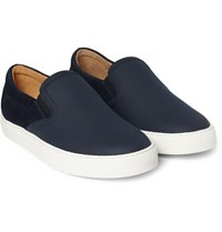 Harry's Of London Harrys Ethan Jones Leather And Suede Sneakers Navy