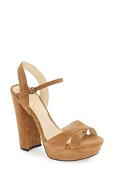 Jessica Simpson Women's 'Naidine' Platform Sandal Honey Brown Suede