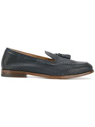 Doucal's 'Scarpa Mughetto' Woven Loafers Women Leather 38.5 Blue