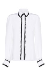Andrew Gn Pom Pom Silk Button Up Shirt White