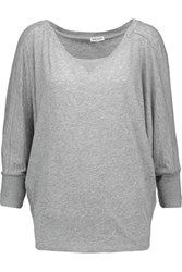 Splendid Waffle Knit Paneled Supima Cotton And Micro Modal Blend Top Gray