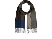 Colombo Men's Colorblocked Cashmere Silk Scarf Brown