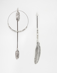 Asos Mismatch Feather And Hoop Earrings Multi
