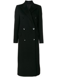 Tagliatore Long Double Breasted Coat Women Cupro Cashmere 40 Black