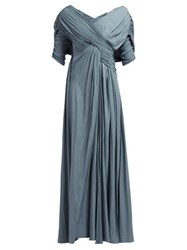 Lanvin Gathered Voile Gown Light Blue