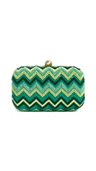 Santi Sequin Chevron Clutch Green