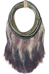 Rosantica Havana Tasseled Beaded Necklace Purple