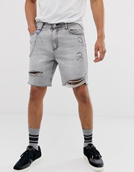 Bershka Denim Shorts With Abrasions In Grey