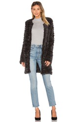 Adrienne Landau Knit Rabbit Fur Coat Charcoal