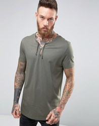 Asos Longline T Shirt With Drawcord Neck Detail In Green Toad
