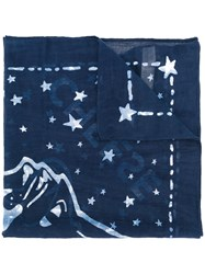 Diesel Embroidered Scarf Cotton Blue