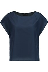 7 For All Mankind Silk And Cotton Blend Top Navy