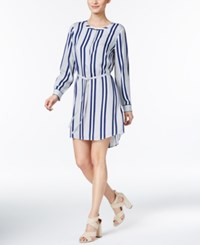Vince Camuto Striped High Low Shirtdress Blue Night