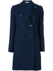 Lardini Peaked Lapel Coat Blue