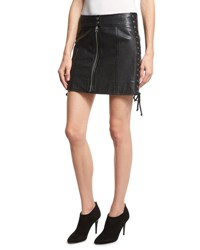 Mcq By Alexander Mcqueen Laced Paneled Leather Mini Skirt Black