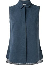 Akris Mesh Back Sleeveless Shirt Blue