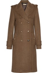 Michael Kors Collection Double Breasted Houndstooth Wool Coat Camel