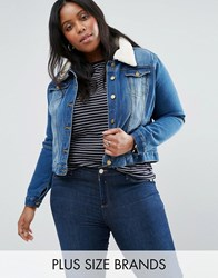 Brave Soul Plus Denim Jacket With Faux Sheerling Collar Mid Blue Wash