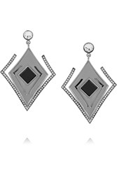 Kilian Lights And Reflections Rhodium Plated Swarovski Crystal And Onyx Earrings