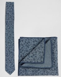 Minimum Tie And Pocket Square Set In Floral Blue