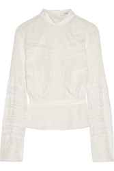 Derek Lam 10 Crosby By Lace Paneled Pintucked Washed Silk Blouse Ivory