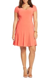 Plus Size Women's Lauren Ralph Lauren Cap Sleeve Jersey Fit And Flare Dress Deco Coral