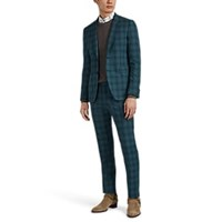 Paul Smith Kensington Plaid Worsted Wool Two Button Suit Green