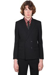 Saint Laurent Double Breasted Striped Wool Jacket Black
