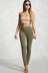 Forever 21 French Terry Knit Leggings Olive