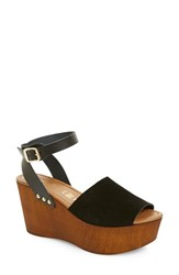 Women's Seychelles Platform Wedge Sandal Black Suede Leather
