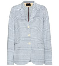 Loro Piana Check Cotton And Linen Blend Blazer Blue